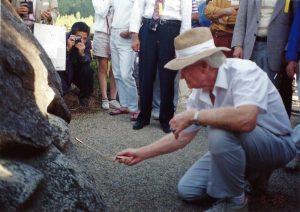 Bill Dowsing with Aurameter at Asuka Rocks, Japan